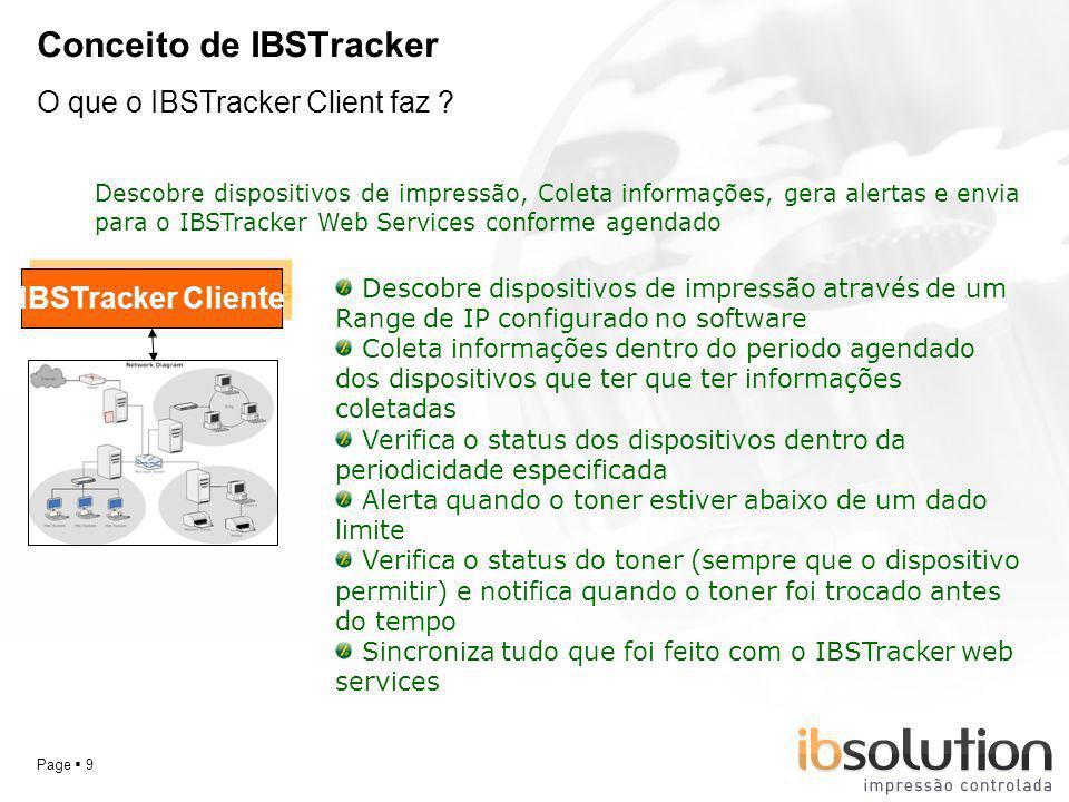 YOUR LOGO Page 9 Conceito de IBSTracker O que o IBSTracker Client faz ? IBSTracker Cliente Descobre dispositivos de impressão, Coleta informações, ger