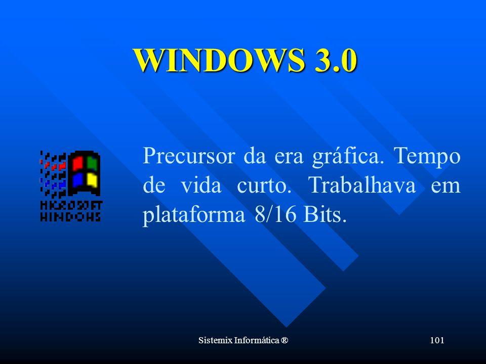 Sistemix Informática ®101 Precursor da era gráfica. Tempo de vida curto. Trabalhava em plataforma 8/16 Bits. WINDOWS 3.0