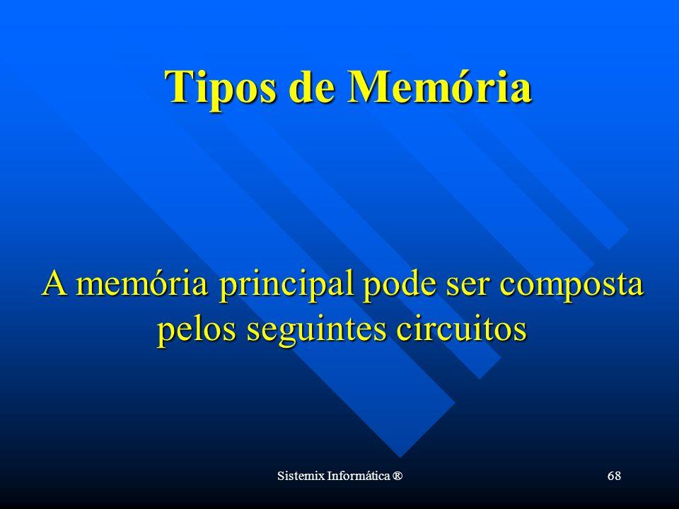 Sistemix Informática ®68 Tipos de Memória A memória principal pode ser composta pelos seguintes circuitos
