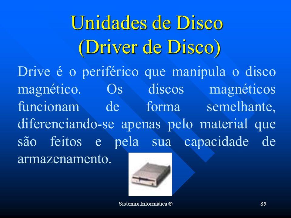 Sistemix Informática ®85 Drive é o periférico que manipula o disco magnético. Os discos magnéticos funcionam de forma semelhante, diferenciando-se ape