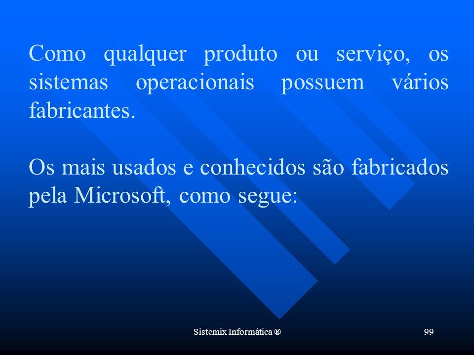 Sistemix Informática ®99 Como qualquer produto ou serviço, os sistemas operacionais possuem vários fabricantes. Os mais usados e conhecidos são fabric
