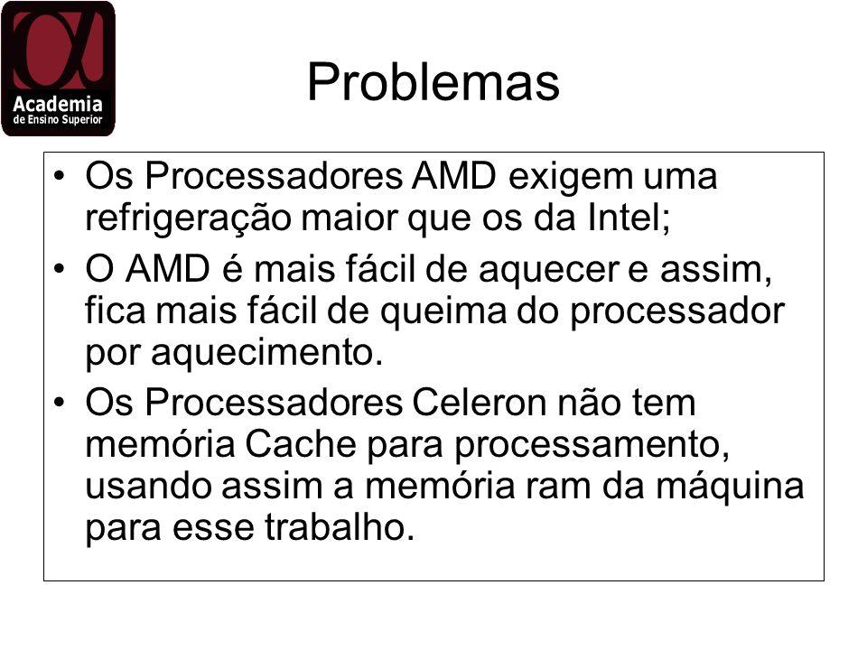 Problemas Os Processadores AMD exigem uma refrigeração maior que os da Intel; O AMD é mais fácil de aquecer e assim, fica mais fácil de queima do proc