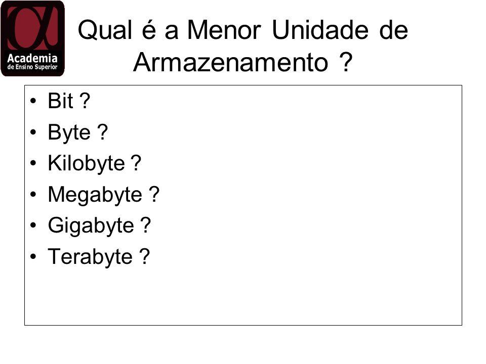 Qual é a Menor Unidade de Armazenamento ? Bit ? Byte ? Kilobyte ? Megabyte ? Gigabyte ? Terabyte ?