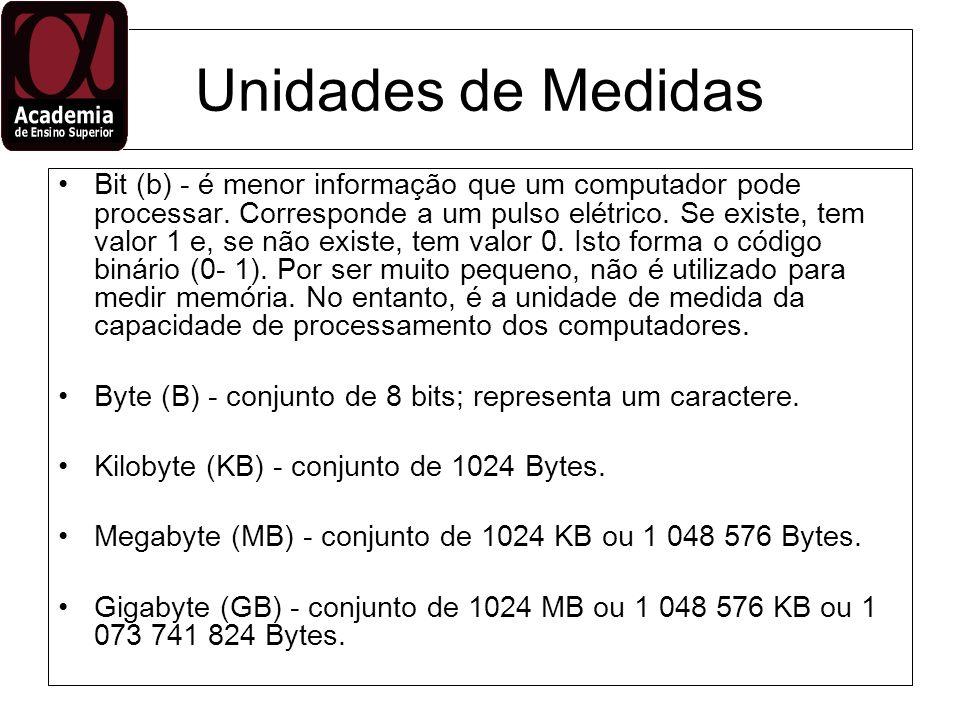 Unidades de Medidas Bit (b) - é menor informação que um computador pode processar. Corresponde a um pulso elétrico. Se existe, tem valor 1 e, se não e