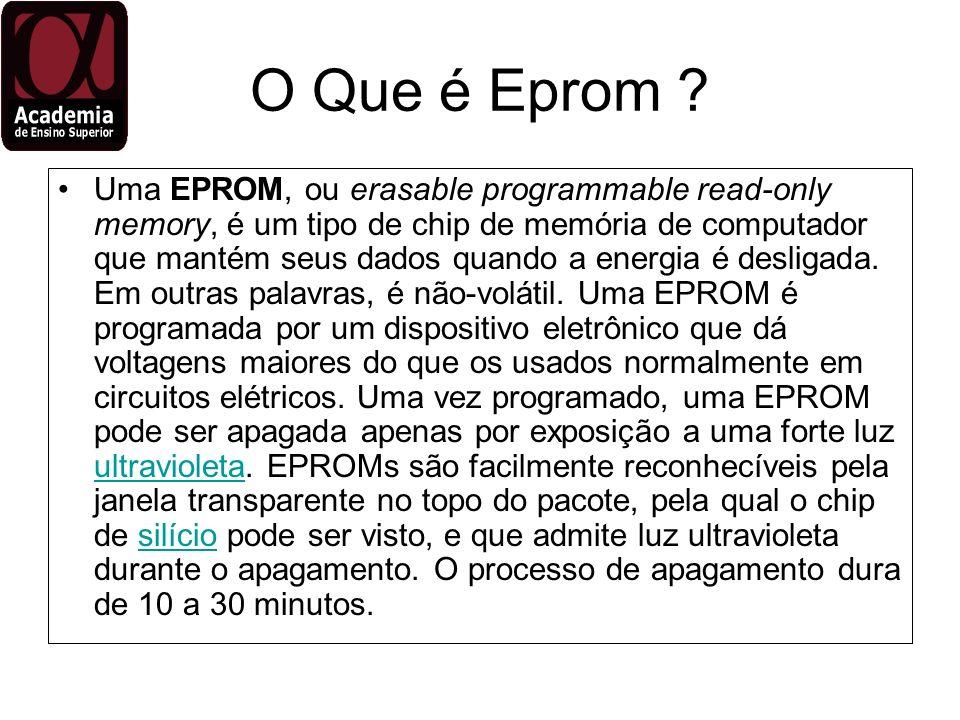 O Que é Eprom ? Uma EPROM, ou erasable programmable read-only memory, é um tipo de chip de memória de computador que mantém seus dados quando a energi