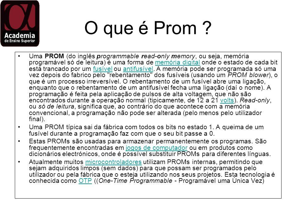 O que é Prom ? Uma PROM (do inglês programmable read-only memory, ou seja, memória programável só de leitura) é uma forma de memória digital onde o es