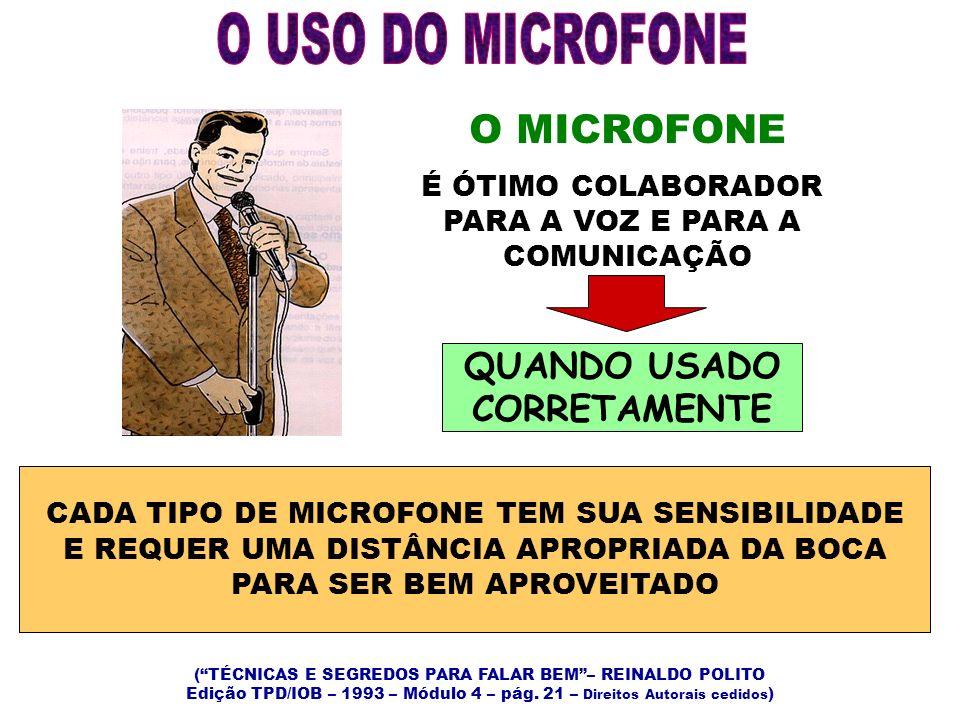 O MICROFONE É ÓTIMO COLABORADOR PARA A VOZ E PARA A COMUNICAÇÃO QUANDO USADO CORRETAMENTE CADA TIPO DE MICROFONE TEM SUA SENSIBILIDADE E REQUER UMA DI