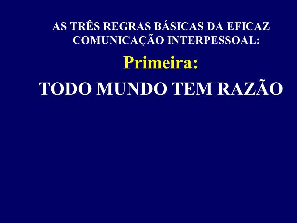 AS TRÊS REGRAS BÁSICAS DA EFICAZ COMUNICAÇÃO INTERPESSOAL
