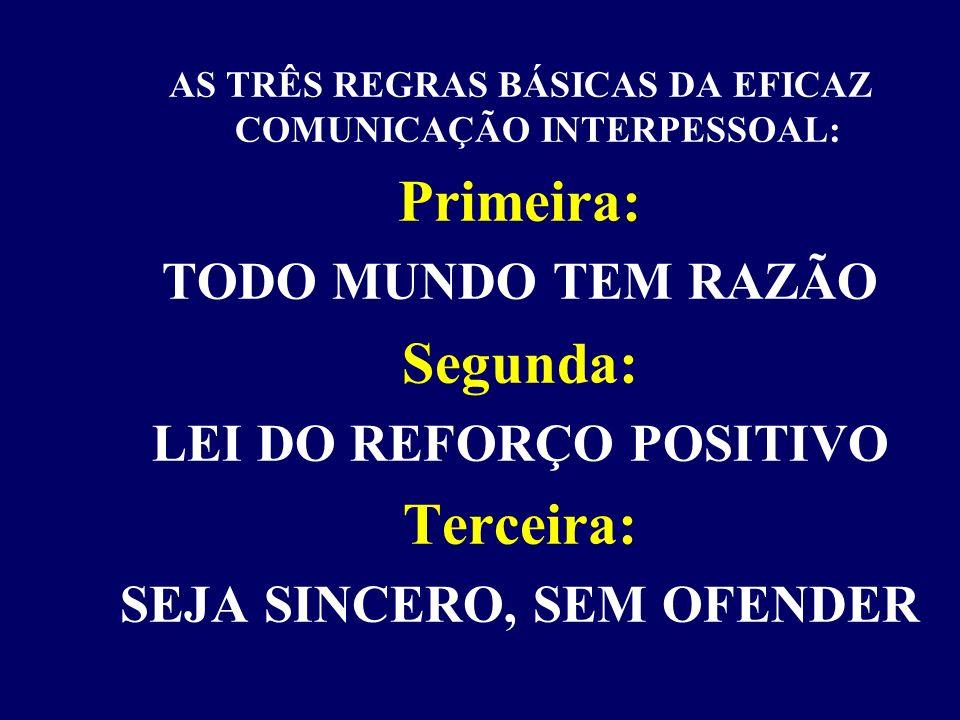 REGRAS BÁSICAS DA EFICAZ COMUNICAÇÃO INTERPESSOAL: TERCEIRA: SEJA SINCERO, SEM OFENDER
