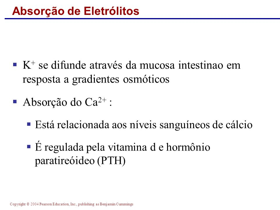 Copyright © 2004 Pearson Education, Inc., publishing as Benjamin Cummings Absorção de Eletrólitos K + se difunde através da mucosa intestinao em respo