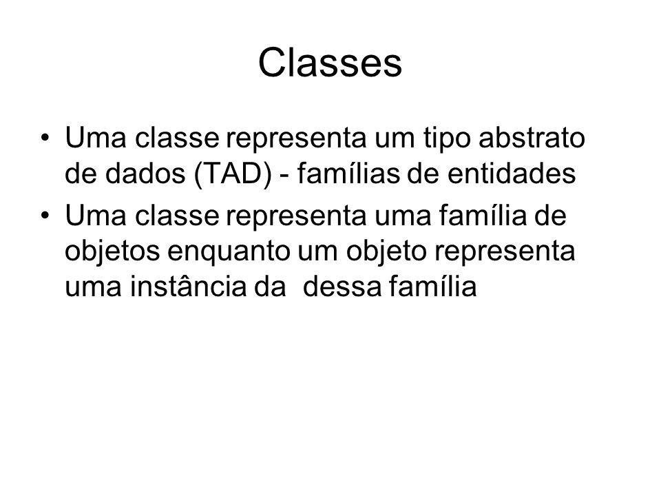 Classes Uma classe representa um tipo abstrato de dados (TAD) - famílias de entidades Uma classe representa uma família de objetos enquanto um objeto
