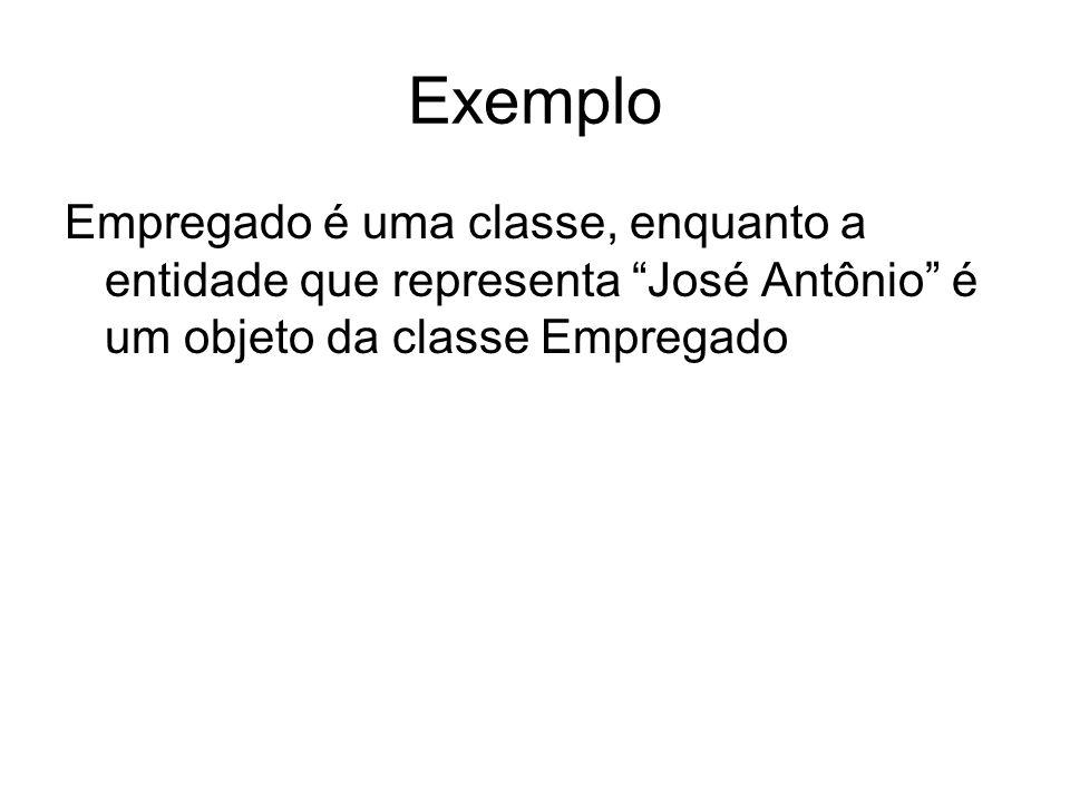 Exemplo Empregado é uma classe, enquanto a entidade que representa José Antônio é um objeto da classe Empregado