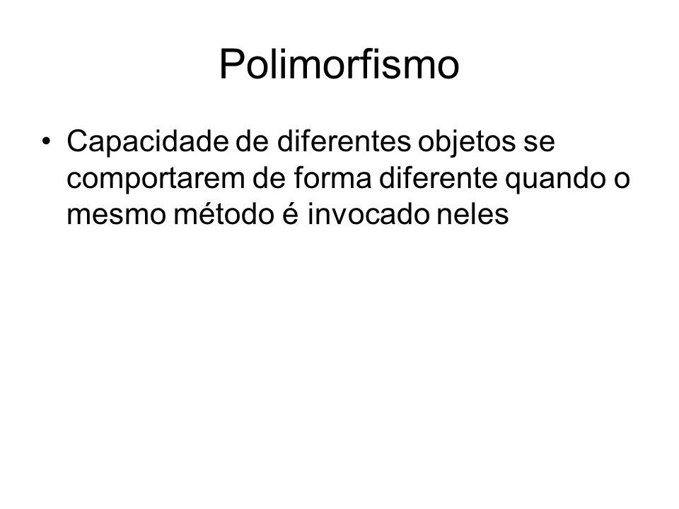 Polimorfismo Capacidade de diferentes objetos se comportarem de forma diferente quando o mesmo método é invocado neles