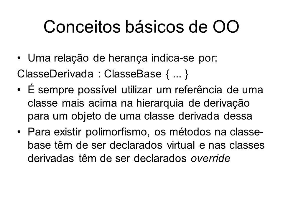 Conceitos básicos de OO Uma relação de herança indica-se por: ClasseDerivada : ClasseBase {... } É sempre possível utilizar um referência de uma class