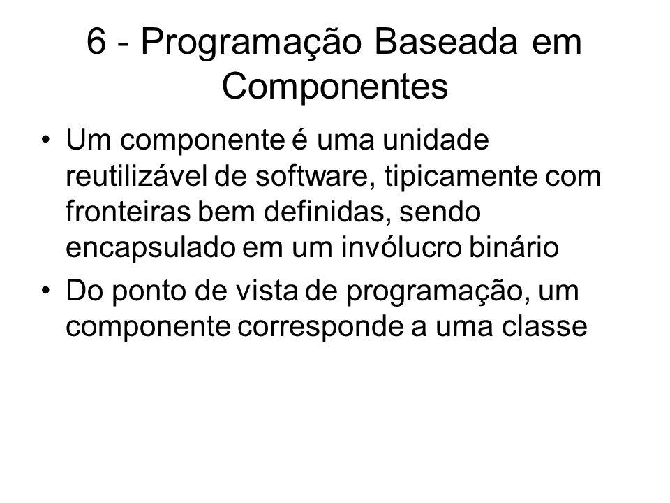 6 - Programação Baseada em Componentes Um componente é uma unidade reutilizável de software, tipicamente com fronteiras bem definidas, sendo encapsula