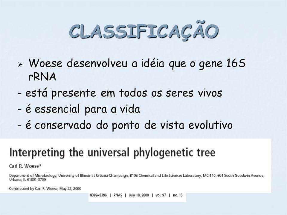Woese desenvolveu a idéia que o gene 16S rRNA Woese desenvolveu a idéia que o gene 16S rRNA - está presente em todos os seres vivos - é essencial para