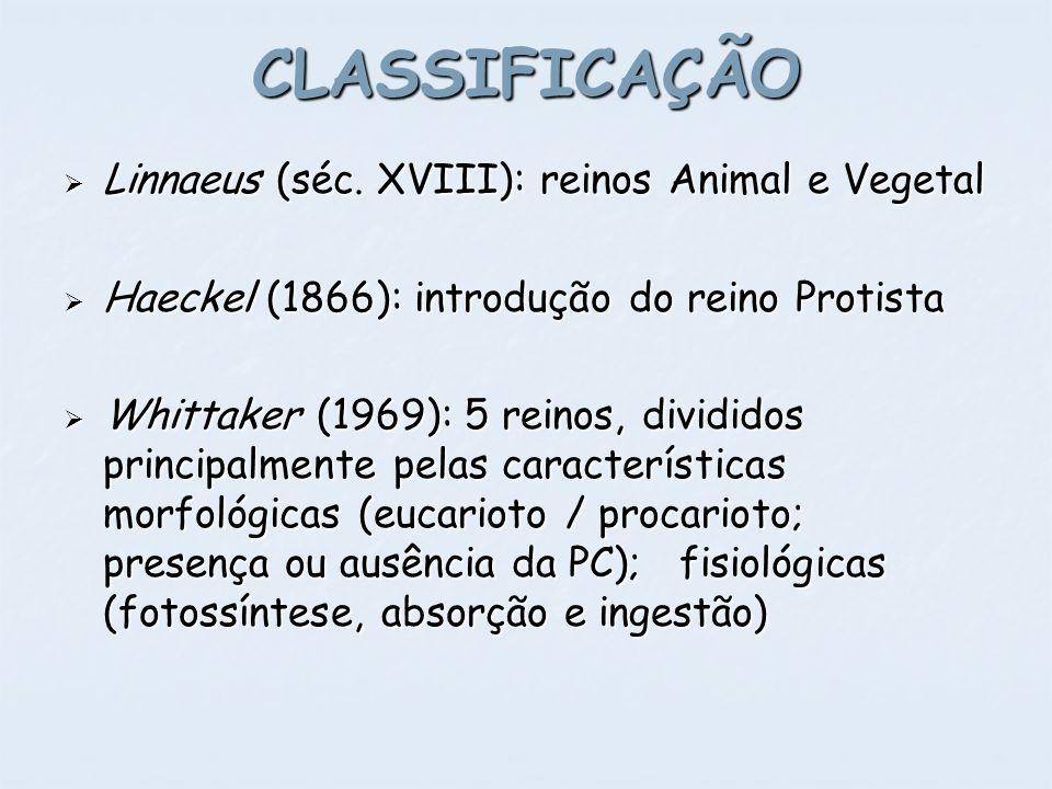CLASSIFICAÇÃO Linnaeus (séc. XVIII): reinos Animal e Vegetal Linnaeus (séc. XVIII): reinos Animal e Vegetal Haeckel (1866): introdução do reino Protis