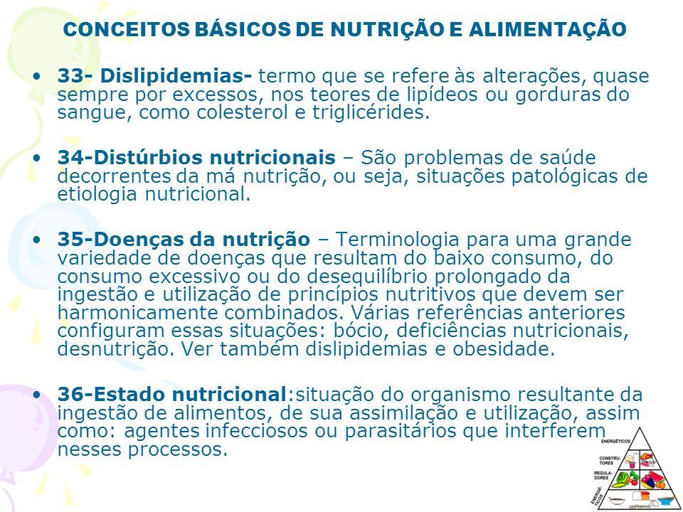 CONCEITOS BÁSICOS DE NUTRIÇÃO E ALIMENTAÇÃO 33- Dislipidemias- termo que se refere às alterações, quase sempre por excessos, nos teores de lipídeos ou