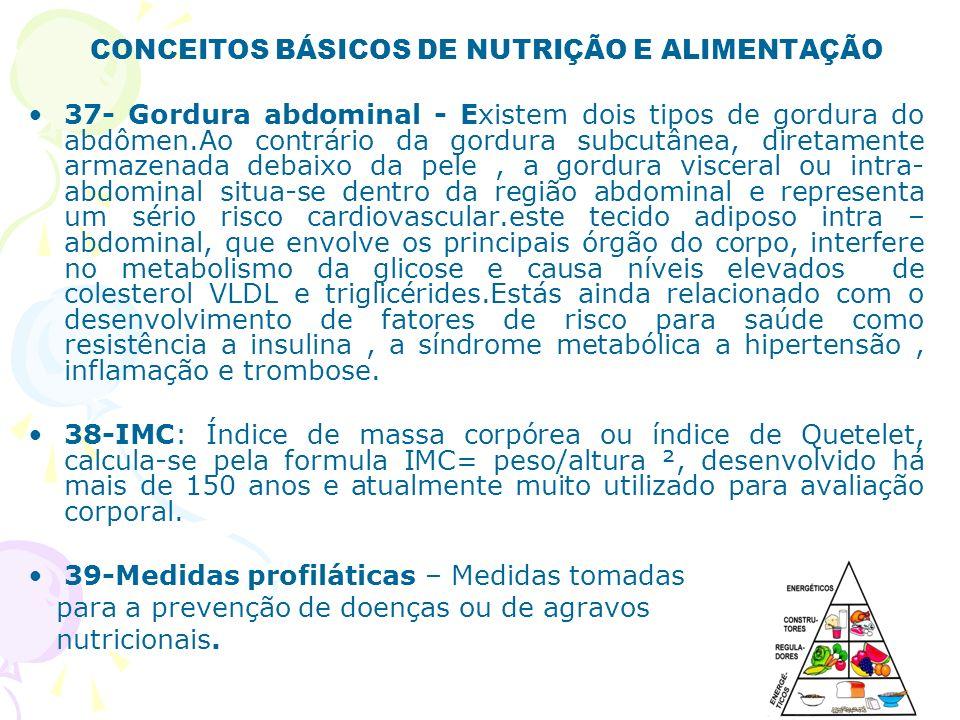 CONCEITOS BÁSICOS DE NUTRIÇÃO E ALIMENTAÇÃO 37- Gordura abdominal - Existem dois tipos de gordura do abdômen.Ao contrário da gordura subcutânea, diret