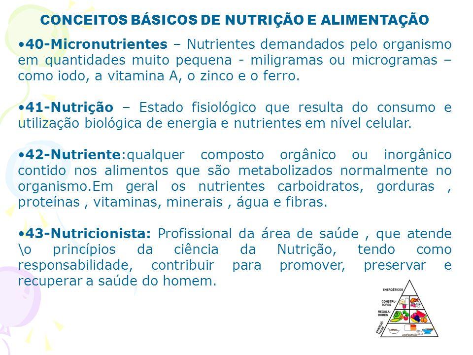 CONCEITOS BÁSICOS DE NUTRIÇÃO E ALIMENTAÇÃO 40-Micronutrientes – Nutrientes demandados pelo organismo em quantidades muito pequena - miligramas ou mic
