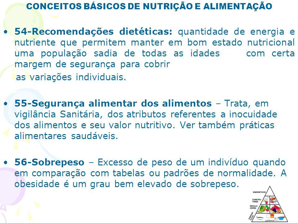 CONCEITOS BÁSICOS DE NUTRIÇÃO E ALIMENTAÇÃO 54-Recomendações dietéticas: quantidade de energia e nutriente que permitem manter em bom estado nutricion