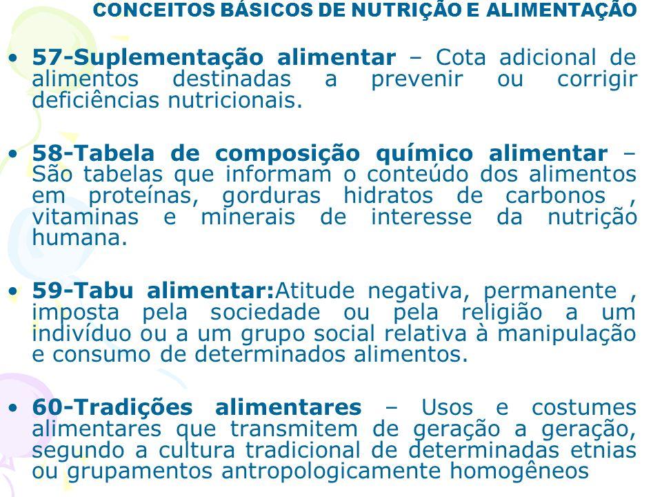 CONCEITOS BÁSICOS DE NUTRIÇÃO E ALIMENTAÇÃO 57-Suplementação alimentar – Cota adicional de alimentos destinadas a prevenir ou corrigir deficiências nu