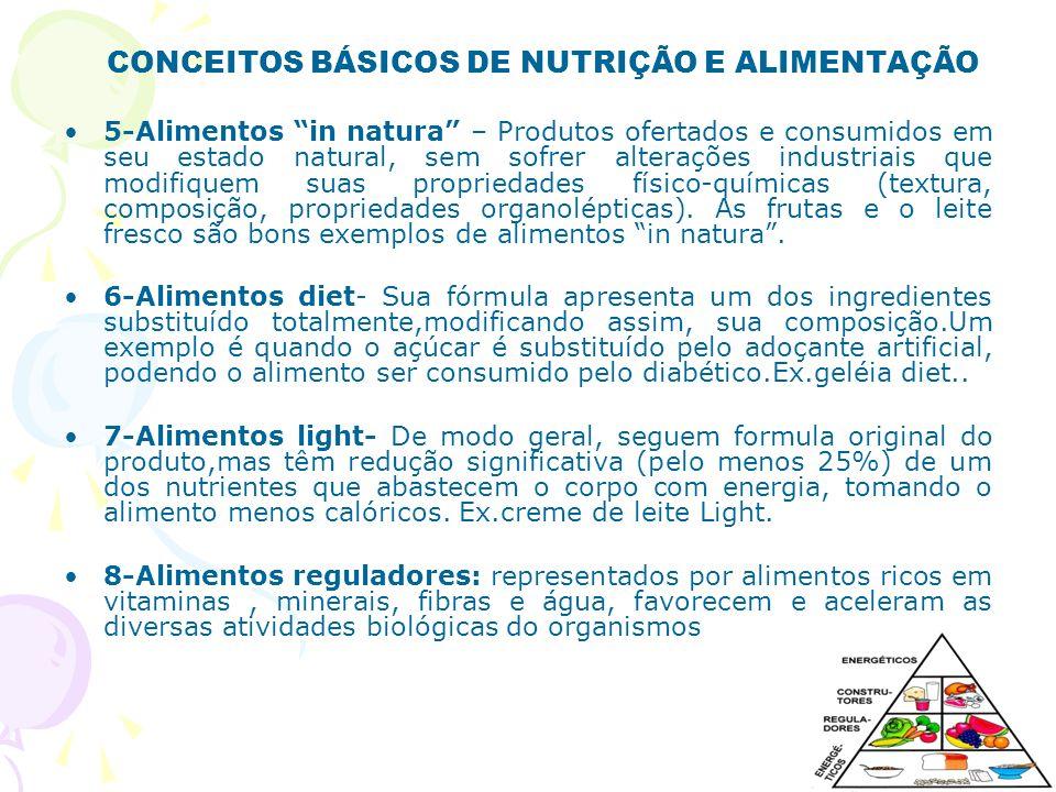 CONCEITOS BÁSICOS DE NUTRIÇÃO E ALIMENTAÇÃO 9-Alimentos construtores: representados principalmente por alimentos ricos em proteínas, tem função plástica, isto é, mantém os processos orgânicos de crescimento, desenvolvimento e de reparação dos tecidos.