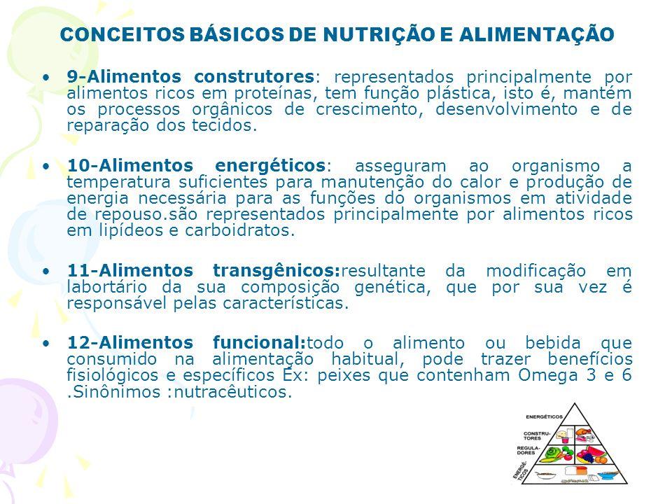 CONCEITOS BÁSICOS DE NUTRIÇÃO E ALIMENTAÇÃO 9-Alimentos construtores: representados principalmente por alimentos ricos em proteínas, tem função plásti