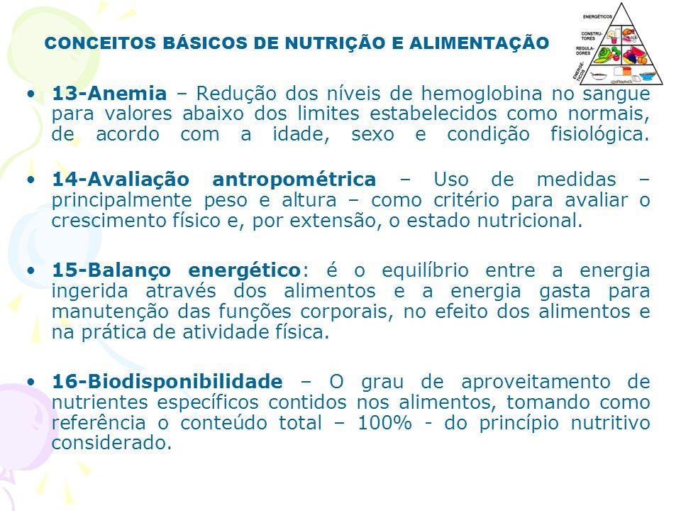 CONCEITOS BÁSICOS DE NUTRIÇÃO E ALIMENTAÇÃO 13-Anemia – Redução dos níveis de hemoglobina no sangue para valores abaixo dos limites estabelecidos como