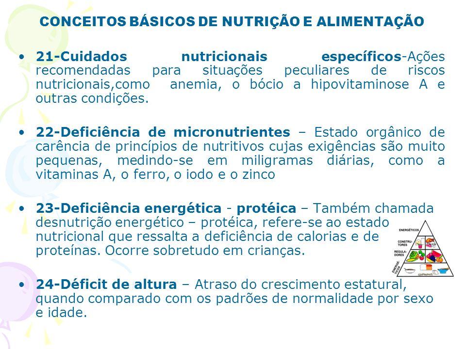 CONCEITOS BÁSICOS DE NUTRIÇÃO E ALIMENTAÇÃO 25-Déficit antropométrica – Atraso nas relações peso/idade, peso/altura, altura/idade, tomando como referências tabelas de normalidade convencionalmente recomendadas.