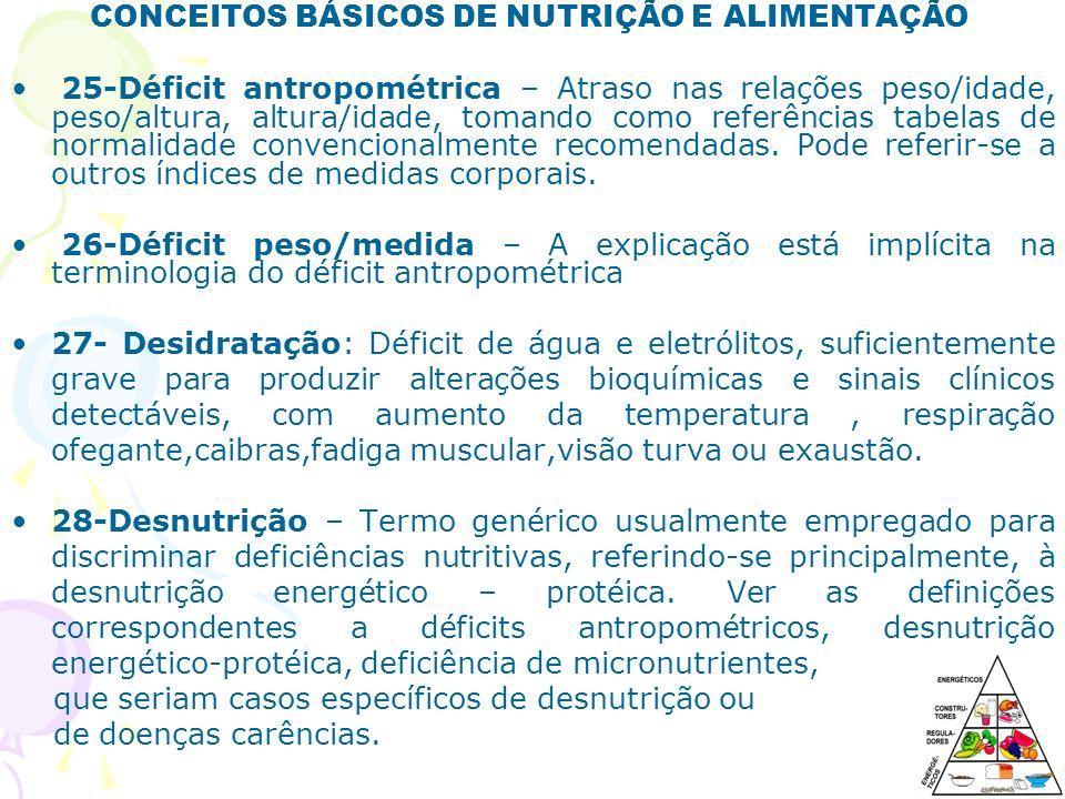 CONCEITOS BÁSICOS DE NUTRIÇÃO E ALIMENTAÇÃO 29-Desnutrição crônica – Processo carencial de longa duração, expresso, ilustrativamente, no déficit de altura.
