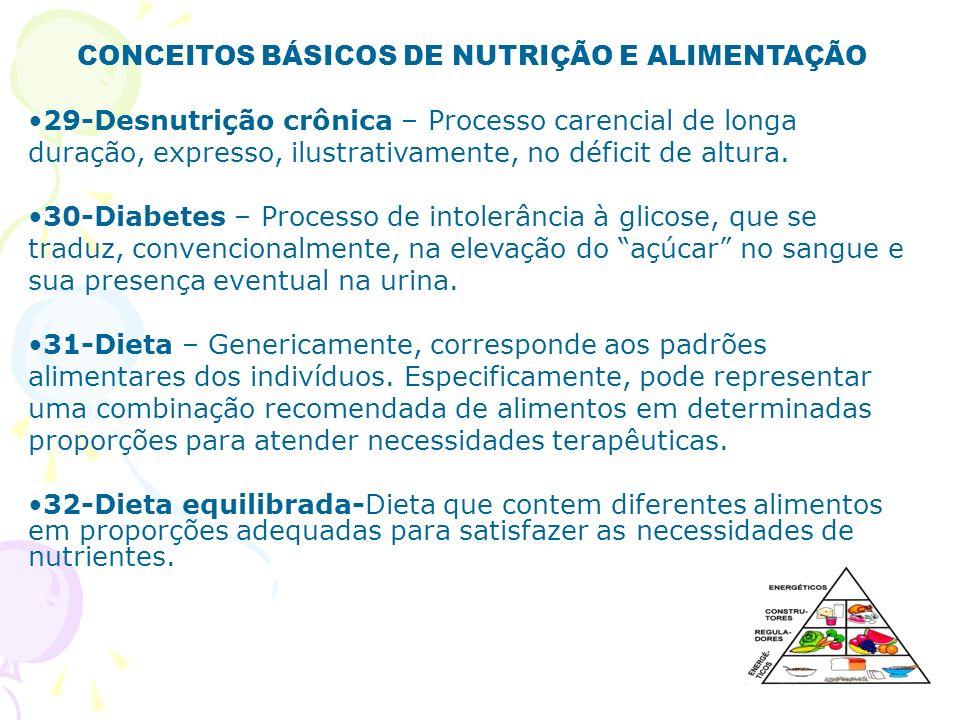CONCEITOS BÁSICOS DE NUTRIÇÃO E ALIMENTAÇÃO 29-Desnutrição crônica – Processo carencial de longa duração, expresso, ilustrativamente, no déficit de al