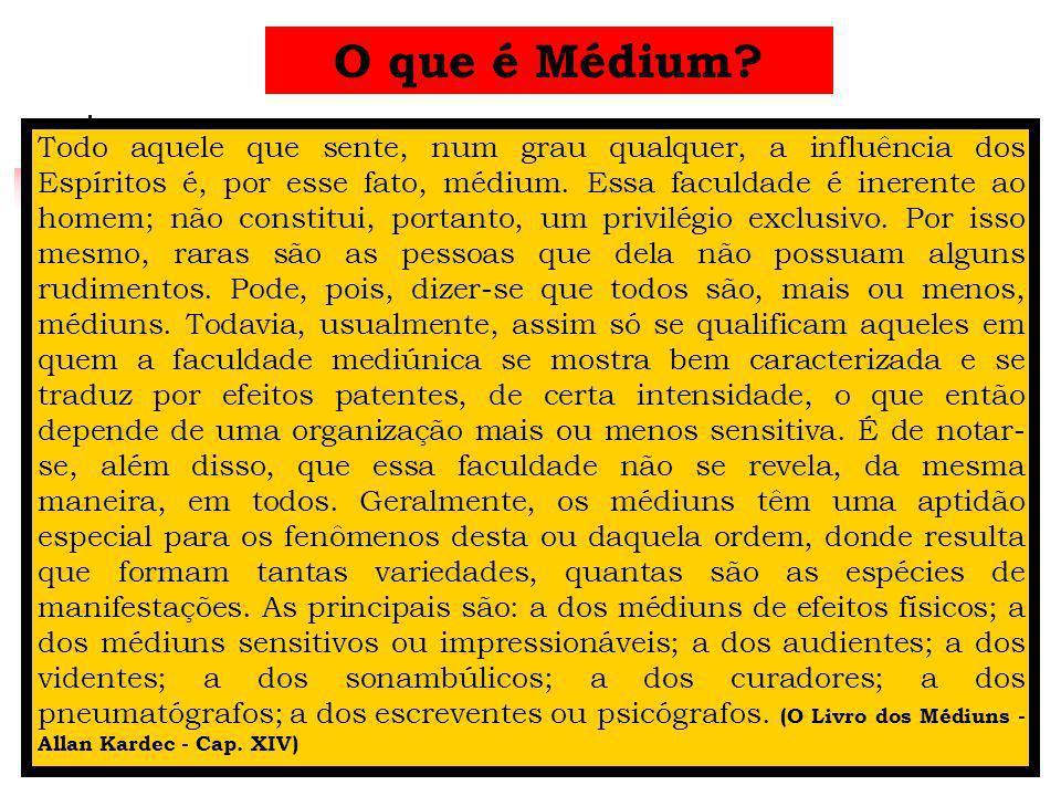 O que é Médium? Todo aquele que sente, num grau qualquer, a influência dos Espíritos é, por esse fato, médium. Essa faculdade é inerente ao homem; não