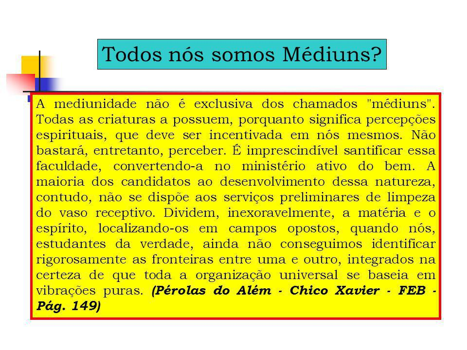 A maioria dos homens habituou-se a crer que médium só o é aquele que, em mesa específica de trabalhos mediúnicos, psicografia ou fala, ouve ou vê os Espíritos, alivia ou cura os enfermos.