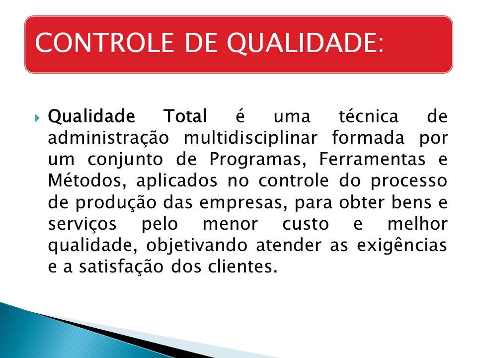 Qualidade Total é uma técnica de administração multidisciplinar formada por um conjunto de Programas, Ferramentas e Métodos, aplicados no controle do