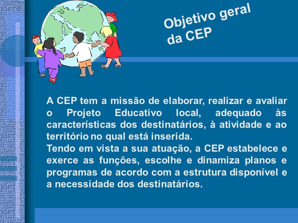 A função fundamental da CEP é a de propor a adesão pessoal e livre de cada pessoa envolvida, aos valores humano-cristão- passionista, de interiorizá-los e testemunhá-los com a vida, de acordo com a capacidade e a opção de vida de cada um.