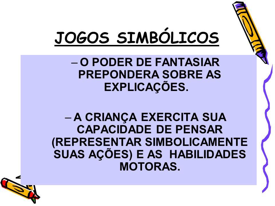 JOGOS SIMBÓLICOS –O PODER DE FANTASIAR PREPONDERA SOBRE AS EXPLICAÇÕES. –A CRIANÇA EXERCITA SUA CAPACIDADE DE PENSAR (REPRESENTAR SIMBOLICAMENTE SUAS