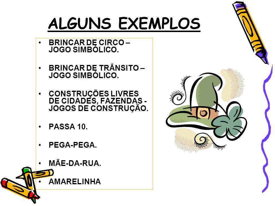 ALGUNS EXEMPLOS BRINCAR DE CIRCO – JOGO SIMBÓLICO. BRINCAR DE TRÂNSITO – JOGO SIMBÓLICO. CONSTRUÇÕES LIVRES DE CIDADES, FAZENDAS - JOGOS DE CONSTRUÇÃO