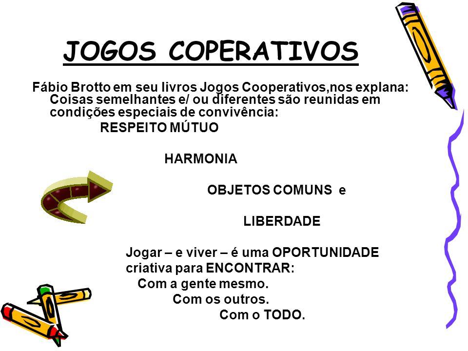 JOGOS COPERATIVOS Fábio Brotto em seu livros Jogos Cooperativos,nos explana: Coisas semelhantes e/ ou diferentes são reunidas em condições especiais d