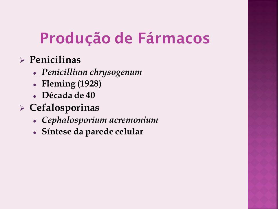 Penicilinas Penicillium chrysogenum Fleming (1928) Década de 40 Cefalosporinas Cephalosporium acremonium Síntese da parede celular