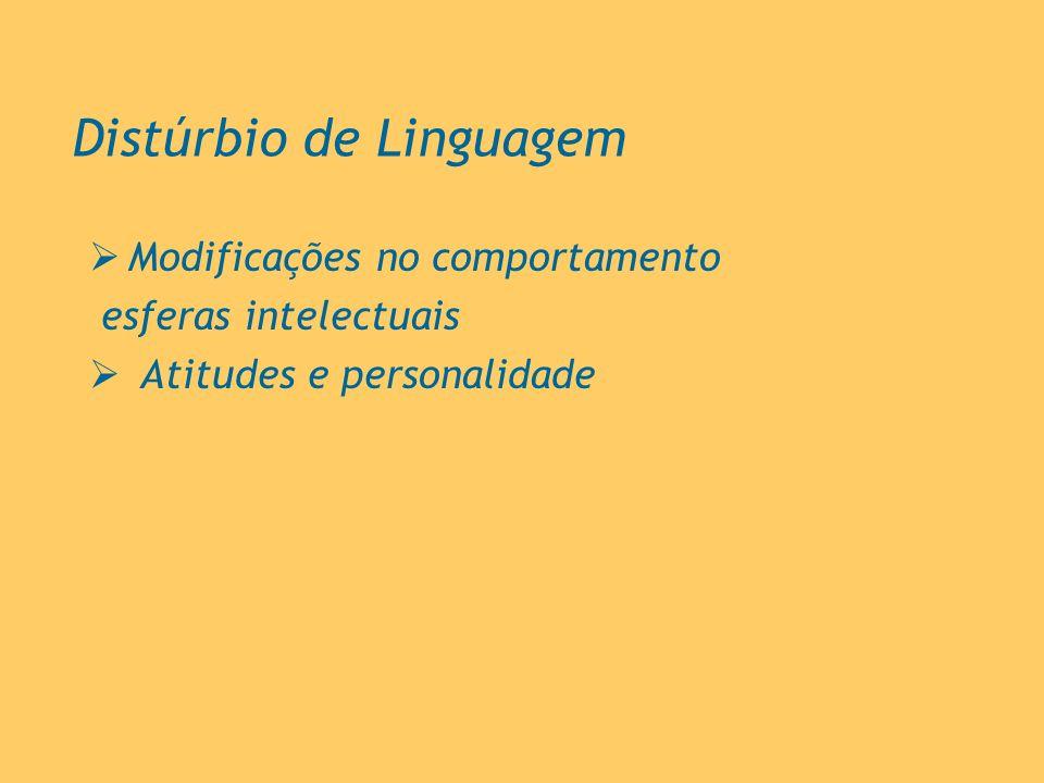 Distúrbio de Linguagem Modificações no comportamento esferas intelectuais Atitudes e personalidade