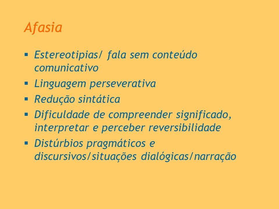 Afasia Estereotipias/ fala sem conteúdo comunicativo Linguagem perseverativa Redução sintática Dificuldade de compreender significado, interpretar e p