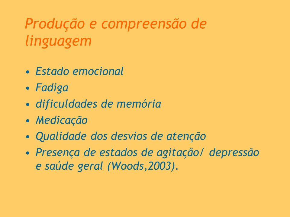 Produção e compreensão de linguagem Estado emocional Fadiga dificuldades de memória Medicação Qualidade dos desvios de atenção Presença de estados de