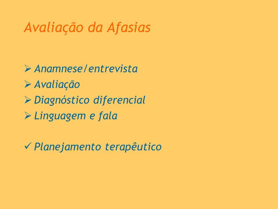 Avaliação da Afasias Anamnese/entrevista Avaliação Diagnóstico diferencial Linguagem e fala Planejamento terapêutico
