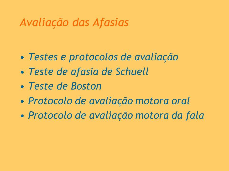 Avaliação das Afasias Testes e protocolos de avaliação Teste de afasia de Schuell Teste de Boston Protocolo de avaliação motora oral Protocolo de aval