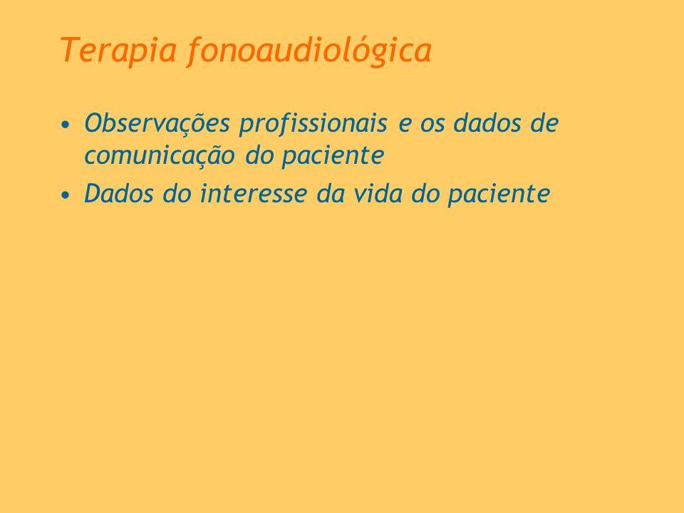 Terapia fonoaudiológica Observações profissionais e os dados de comunicação do paciente Dados do interesse da vida do paciente