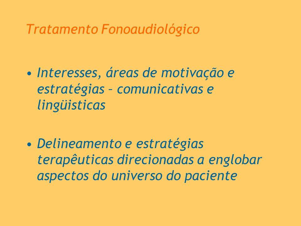 Tratamento Fonoaudiológico Interesses, áreas de motivação e estratégias – comunicativas e lingüisticas Delineamento e estratégias terapêuticas direcio