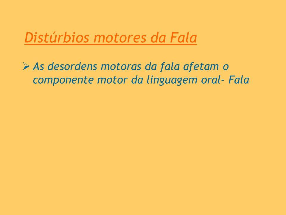 Distúrbios motores da Fala As desordens motoras da fala afetam o componente motor da linguagem oral- Fala