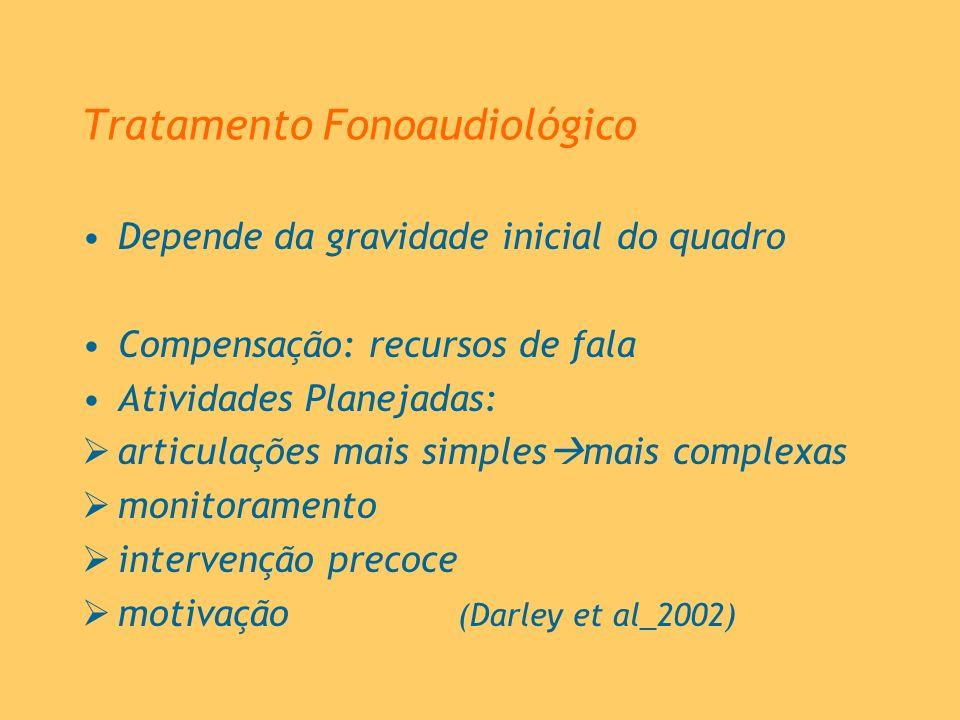 Tratamento Fonoaudiológico Depende da gravidade inicial do quadro Compensação: recursos de fala Atividades Planejadas: articulações mais simples mais