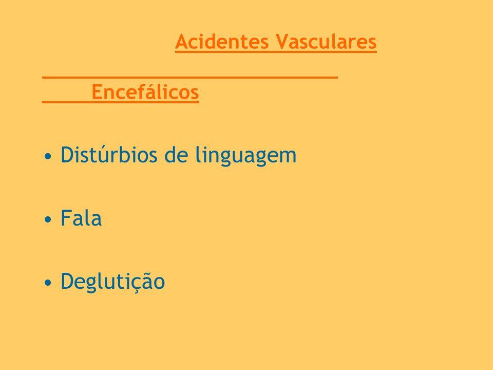 Acidentes Vasculares Encefálicos Distúrbios de linguagem Fala Deglutição